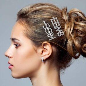 9 Pieces Words Letter Hair Pins Glitter Rhinestone